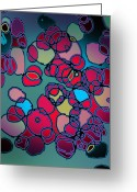 Molecule Greeting Cards - Random Cells  Greeting Card by Andy  Mercer