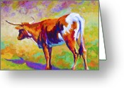 Longhorns Greeting Cards - Range Rover II - Texas Longhorn Greeting Card by Marion Rose