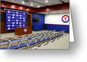 Baseball Print Greeting Cards - Rangers Press Room Greeting Card by Ricky Barnard