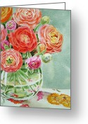 Watercolor By Irina Greeting Cards - Ranunculus in the Glass Vase Greeting Card by Irina Sztukowski