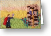 Felted Tapestries - Textiles Greeting Cards - Rapunzel Greeting Card by Nicole Besack