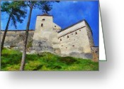 Romania Greeting Cards - Rasnov Fortress Greeting Card by Jeff Kolker