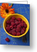 Wooden Bowls Greeting Cards - Raspberries in yellow bowl Greeting Card by Garry Gay