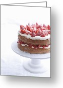 Layer Greeting Cards - Raspberry Layer Cake On Platter Greeting Card by Cultura/BRETT STEVENS