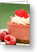 Whipped Topping Greeting Cards - Raspberry Mousse Cake Greeting Card by Lorraine Kourafas