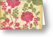 Sorbet Greeting Cards - Raspberry Sorbet Floral 1 Greeting Card by Debbie DeWitt
