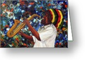 Sax Greeting Cards - Rasta Sax Player Greeting Card by Anna-maria Dickinson