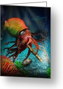 Squid Greeting Cards - Rasta Squid Greeting Card by Alessandro Della Pietra