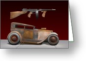 Tommy Gun Greeting Cards - Rat Rod Sedan 3 Greeting Card by Stuart Swartz