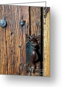 Thomas R. Fletcher Greeting Cards - Rattlesnake Door handle Mission San Xavier del Bac Greeting Card by Thomas R Fletcher