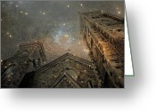 Surreal Fantasy Gothic Church Greeting Cards - Rattling Sky Greeting Card by Gothicolors With Crows