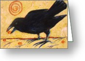 Black Bird Greeting Cards - Raven Grazing Greeting Card by Carol Suzanne Niebuhr