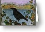 Trees Tapestries - Textiles Greeting Cards - Raven in Colored Leaves Greeting Card by Carolyn Doe