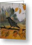 Trees Tapestries - Textiles Greeting Cards - Raven In Orange Birch Greeting Card by Carolyn Doe