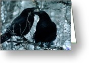 Colette Greeting Cards - Raven Love Chat Greeting Card by Colette Hera  Guggenheim