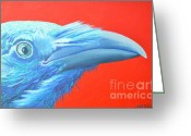 Vermillon Greeting Cards - Raven Portrait Greeting Card by Ana Maria Edulescu