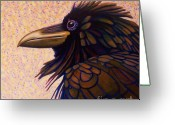 Shaman Greeting Cards - Raven Shaman Greeting Card by Brian  Commerford