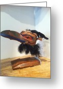 Red Cedar Sculpture Greeting Cards - Raven Greeting Card by Shane  Tweten