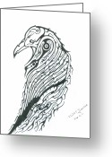 Raven Drawings Greeting Cards - Raven Totem Greeting Card by Elliot Janvier