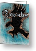 Wizard Drawings Greeting Cards - Ravenclaw Eagle Greeting Card by Jera Sky