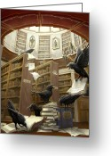 Library Greeting Cards - Ravens in the Library Greeting Card by Rob Carlos