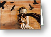 Nudity Mixed Media Greeting Cards - Ravens Remain the Harbinger of Secrets Greeting Card by Iosua Tai Taeoalii