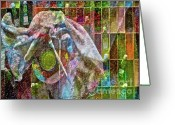 Brushes Digital Art Greeting Cards - Raw Impression Greeting Card by Gwyn Newcombe