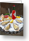 Oysters Greeting Cards - Raw Oysters on Ice Greeting Card by Elaine Hodges