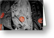 Baseball Mitt Greeting Cards - Rawlings In Red Greeting Card by Jame Hayes