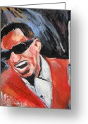 Ray Charles Greeting Cards - Ray Charles  Greeting Card by Jon Baldwin  Art