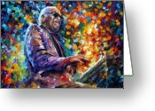 Ray Charles Greeting Cards - Ray Charles Greeting Card by Leonid Afremov