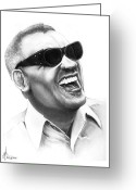 Ray Charles Greeting Cards - Ray Charles Greeting Card by Murphy Elliott