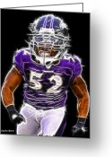 Touchdown Greeting Cards - Ray Lewis Greeting Card by Stephen Younts