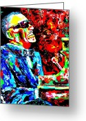 Ray Charles Greeting Cards - Ray Greeting Card by Mike OBrien