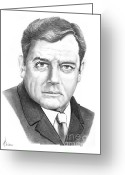 Famous People Drawings Greeting Cards - Raymond Burr Greeting Card by Murphy Elliott