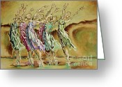 Standing Painting Greeting Cards - Reach Beyond Limits Greeting Card by Karina Llergo Salto