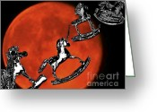 Outerspace Greeting Cards - Reach for the Moon Greeting Card by Carol F Austin