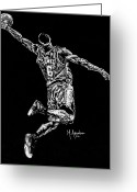 Nba Greeting Cards - Reaching for Greatness Greeting Card by Maria Arango
