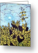 Fine Art Batik Tapestries - Textiles Greeting Cards - Reaching Up Greeting Card by Kristine Allphin