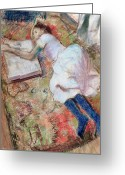 Studying Pastels Greeting Cards - Reader Lying Down Greeting Card by Edgar Degas