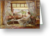 Curtain Greeting Cards - Reading by the Window Greeting Card by Charles James Lewis