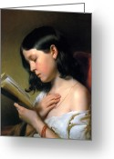 Franz Greeting Cards - Reading Girl Greeting Card by Stefan Kuhn