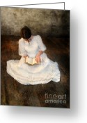 White Dress Greeting Cards - Reading  Greeting Card by Jill Battaglia