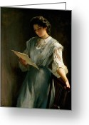 Edwardian Greeting Cards - Reading the Letter  Greeting Card by Thomas Benjamin Kennington