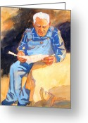 Senior Greeting Cards - Reading Time Greeting Card by Kathy Braud