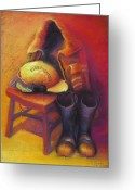 Fireman Boots Greeting Cards - Ready 24/7 Greeting Card by Judy Albright