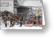 Canal Drawings Greeting Cards - Ready and Waiting - Canal Fulton Ohio Fire Engine Print Greeting Card by Kelli Swan