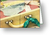 Suitcase Greeting Cards - Ready Greeting Card by Rebecca Cozart