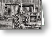 Black And White Barn Greeting Cards - Ready to Go BW Greeting Card by JC Findley