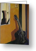 Vibe Painting Greeting Cards - Ready To Play Guitar Greeting Card by Jennifer Noren